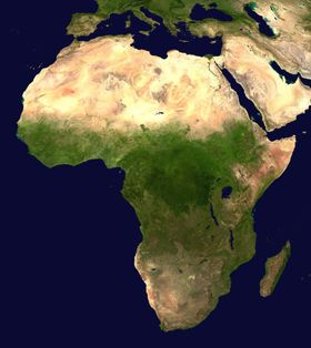 A satellite composite image of Africa