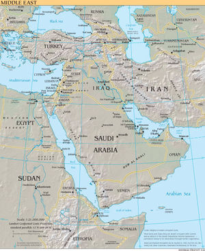 A map showing countries commonly considered to be part of the Middle East