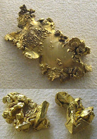 Raw gold from California (top) and Australia (bottom), showing octahedral formations