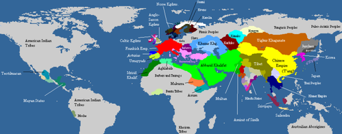 Map of the world civilizations, c. 820 (Old World ignorant of the New World's existence, and vice versa)