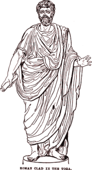 The toga was the characteristic garment of the Roman citizen. Roman women (who were not considered citizens) and non-citizens were not allowed to wear one.