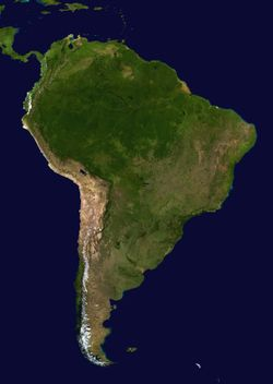 A satellite composite image of South America