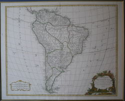 Map of South America. (1750) Geograph: Robert de Vaugondy.